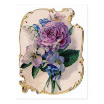 Vintage Rose and Lily of the Valley Postcard