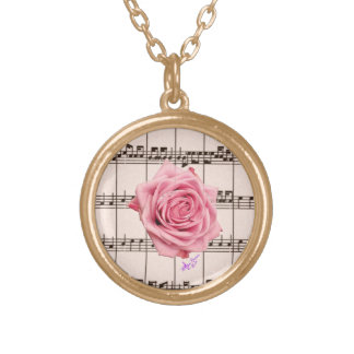 Vintage Rose and Music Round Gold Necklace