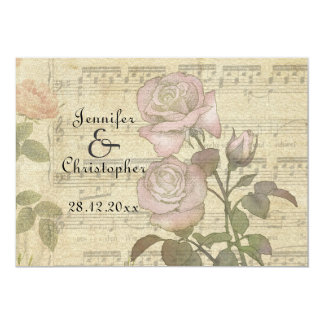 Vintage Rose and Music Score Wedding Cards