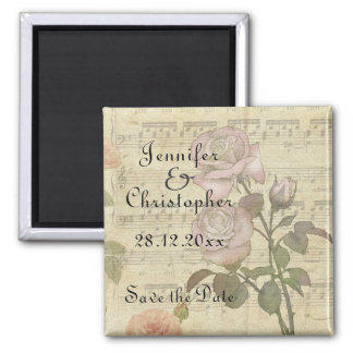 Vintage Rose and music score wedding set 2 Inch Square Magnet