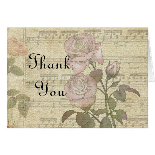 Vintage Rose and music score wedding set Card