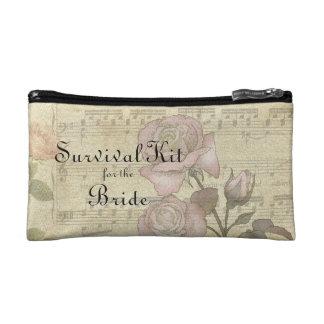 Vintage Rose and music score wedding set Cosmetic Bag