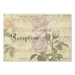 Vintage Rose and music score wedding set Invite