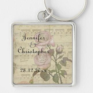 Vintage Rose and music score wedding set Keychain