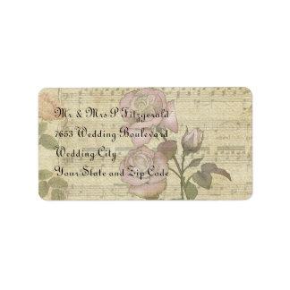 Vintage Rose and music score wedding set Label