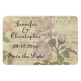 Vintage Rose and music score wedding set Rectangular Photo Magnet