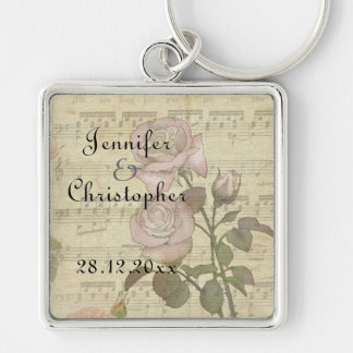 Vintage Rose and music score wedding set Silver-Colored Square Keychain