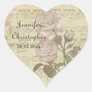 Vintage Rose and music score wedding set Heart Sticker