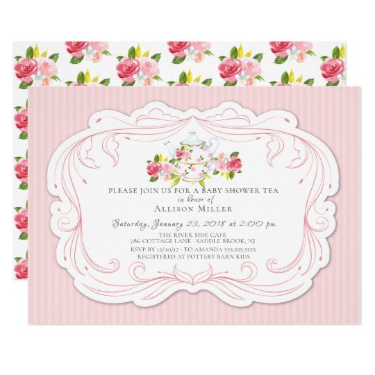 Vintage rose baby shower tea party invitation zazzle vintage rose baby shower tea party invitation filmwisefo