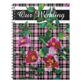 Vintage Rose - black and pink plaid Notebook