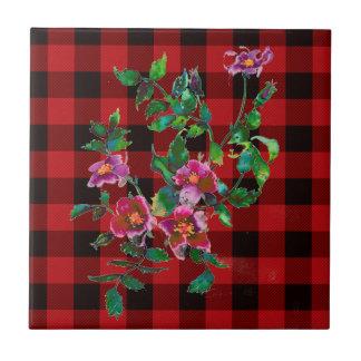 Vintage Rose black and red plaid Ceramic Tile