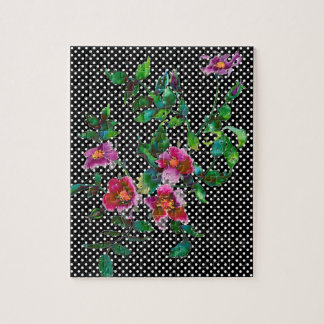 Vintage Rose black and white polka-dots Jigsaw Puzzle