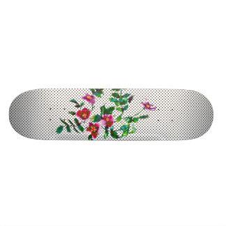 Vintage rose black and white polka-dots skateboard