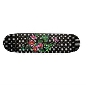 Vintage rose black and white polka-dots skateboard deck