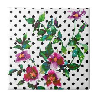 Vintage rose black and white polka-dots tile