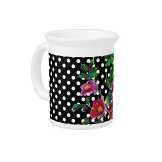 Vintage Rose black/white polka-dots Pitcher