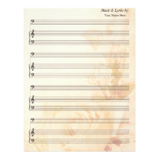 Vintage Rose Blank Sheet Music Bass Clef Letterhead Template