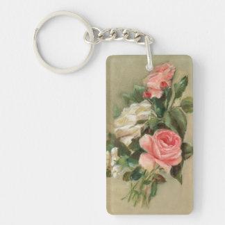 Vintage Rose Bouquet Double-Sided Rectangular Acrylic Keychain