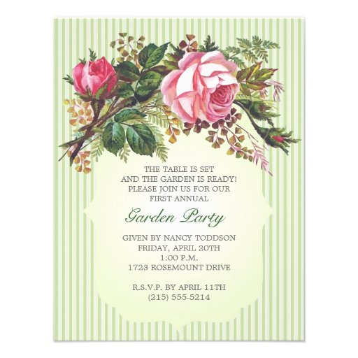 vintage rose bouquet garden party paper invitation card zazzle. Black Bedroom Furniture Sets. Home Design Ideas