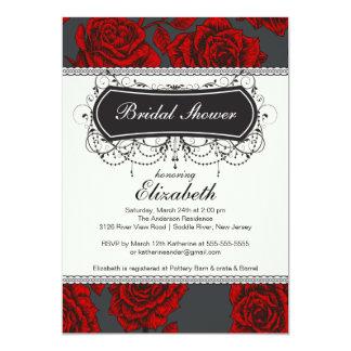 Vintage Rose Bridal Shower Invitation Red