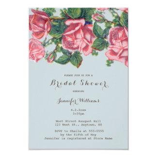 Vintage rose bridal shower invitations