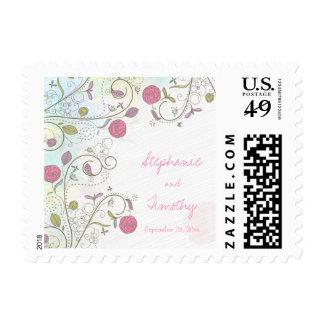 Vintage rose bud floral swirls wedding stamps