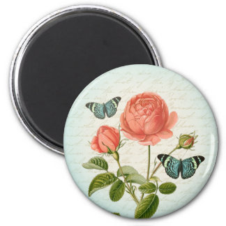 Vintage rose & butterfly floral girly magnet