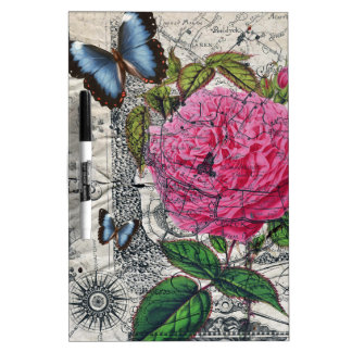 vintage rose butterfly map dry erase board
