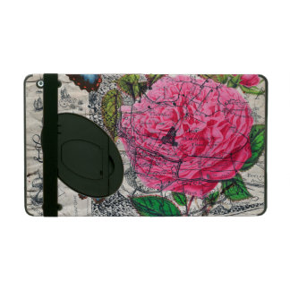 vintage rose butterfly map iPad folio case