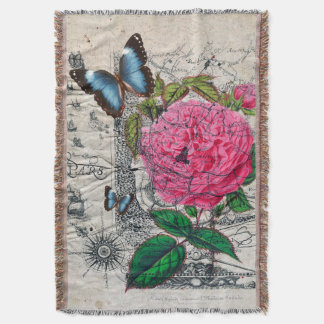 vintage rose butterfly map throw blanket