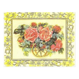 Vintage Rose Cart Postcard