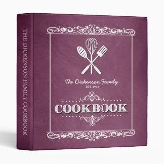 Vintage Rose Chalkboard Family Cookbook Binder