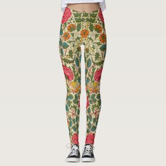 Vintage Rose Chintz Floral pattern Leggings