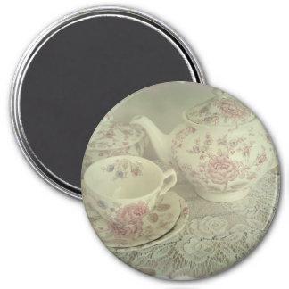 Vintage Rose Chintz Teapot, Cup Magnet