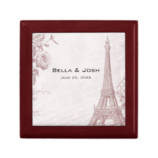 Vintage Rose Color Eiffel Tower Gift Box