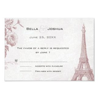 Vintage Rose Color Eiffel Tower RSVP 3.5x5 Paper Invitation Card