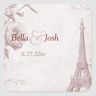 Vintage Rose Color Eiffel Tower Wedding Sticker