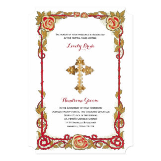 vintage rose cross catholic wedding invitation - Catholic Wedding Invitations