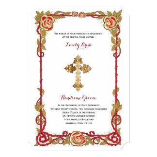 Vintage Rose Cross Catholic Wedding Invitation