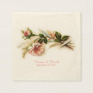 Vintage Rose Custom Wedding Napkins