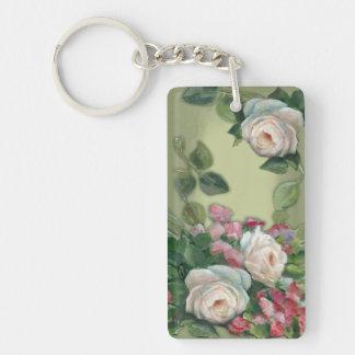 Vintage Rose Design Double-Sided Rectangular Acrylic Keychain