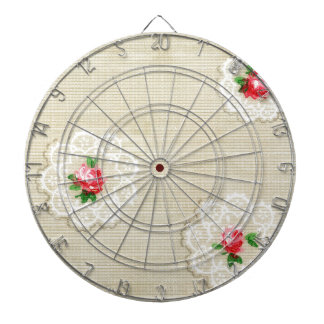 Vintage Rose Doily Wallpaper Dartboard With Darts