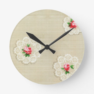 Vintage Rose Doily Wallpaper Round Clock