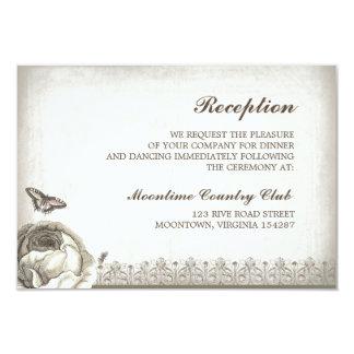 vintage rose drawing wedding reception design card