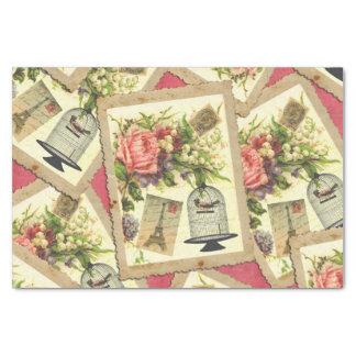 """Vintage Rose, Eiffel Tower, & Bird Cage Postcard 10"""" X 15"""" Tissue Paper"""