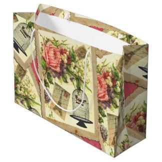 Vintage Rose, Eiffel Tower, & Bird Cage Postcard Large Gift Bag