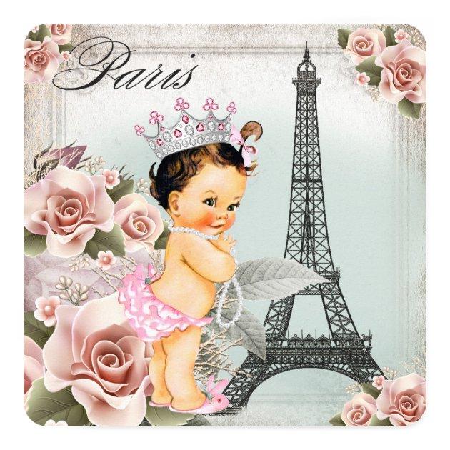 Vintage Rose Eiffel Tower Paris Baby Shower Card