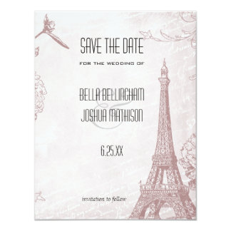 Vintage Rose Eiffel Tower Save the Date Card