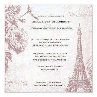 Vintage Rose Eiffel Tower Wedding Invitation