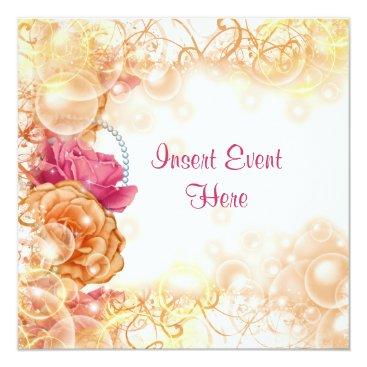 Beach Themed Vintage rose elegant floral swirl card